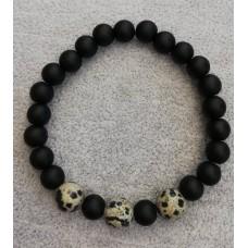Мъжка гривна  от естествени камъни - черен обсидиан и леопардов яспис