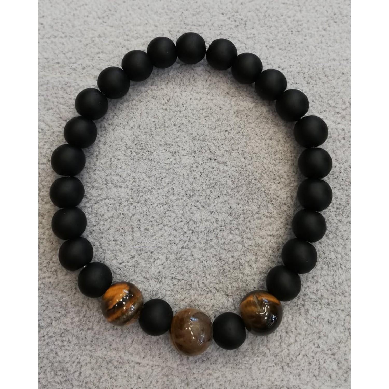Мъжка гривна  от естествени камъни - черен обсидиан и тигрово око