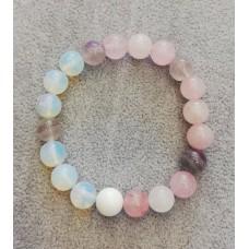 Гривна  от естествени камъни - аметист, розов кварц и лунен камък