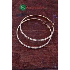 Дамски обеци от стомана в златист цвят обсипани с цирконий